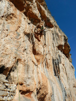 Vincent Lauzon climbing Labyrinth 7a+ at Gerovraxo, Leonidio, Greece