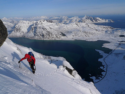 Climbing in one of Europe's last great wilderness areas, the Lofoten islands, Norway.