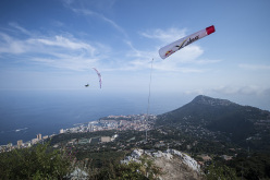 Gavin Mcclurg (USA2) performs during the Red Bull X-Alps in Peille, France (turn point 10) on 15th July 2015
