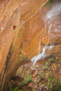 Conrad Anker and David Lama completing the first ascent of Latent Core (450m, 5.11 A1, 05/2015) in Zion National Park, USA.