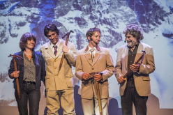 During the celebration of Matterhorn - Cervino 150: Catherine Destivelle, Hervé Barmasse, Simon Anthamatten and Reinhold Messner