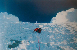 During the first winter ascent of Cerro Torre, Patagonia, carried out from 3 - 8 July 1985 by Paolo Caruso, Maurizio Giarolli, Andrea Sarchi and Ermanno Salvaterra.