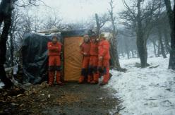 Paolo Caruso, Maurizio Giarolli, Andrea Sarchi and Ermanno Salvaterra, July 1985, Cerro Torre, Patagonia