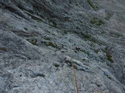 Sulla Via 9 agosto, Sass d'Ortiga, Pale di San Martino, Dolomiti