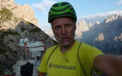 Climbing Via 9 agosto, Sass d'Ortiga, Pale di San Martino, Dolomites