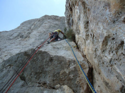 During the first ascent of Piccolo grande uomo, Monte Gallo, Sicily (Fabio Failla, Angelo la Rosa 15-17/06/2015)