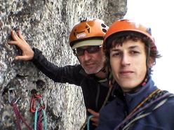 Selfie degli apritori, Alberto Peruffo e Leonardo Meggiolaro, sulla seconda sosta durante l'apertura del 9 luglio 2015.