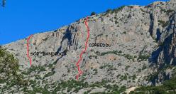 Il tracciato di Sos Banditos nuova via aperta da Moretti, Vitale, Filocamo e Cervini sulla parete Est del Monte Uddé
