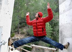 Adamo Ondra climbing an offwidth in Spain...