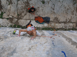 Ricardo Scarian climbing Thin Ice 8c at Terlago.