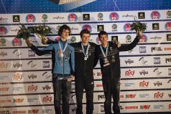Podio maschile della Coppa del Mondo Lead 2015 di Stavanger, Norvegia: Adam Ondra (2), Gautier Supper (1), Romain Desgranges (3)