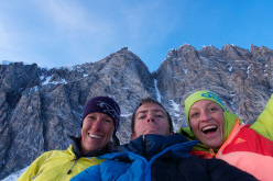Ines Papert, Paul McSorley and Mayan Smith-Gobat, in the background Mount Waddington SW Buttress, first climbed by the trio on 18-19/08/2015