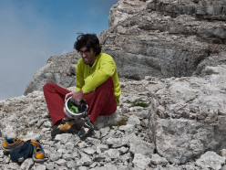 Hansjörg Auer immediately after his free solo ascent of Mephisto, Sass de la Crusc, Dolomites on 26/08/2015