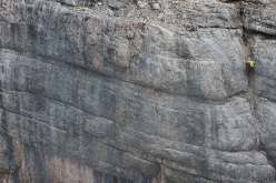 Hansjörg Auer making his free solo ascent of Mephisto, Sass de la Crusc, Dolomites on 26/08/2015