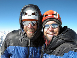 David Gottlieb and Joseph Puryear on the summit of Jobo Rinjang in April 2009.