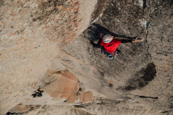 Bilibino 2015: Jacopo Larcher on one of the crux pitches of Red Corner  (7c+ / 450m) on The Commander, established together with Hansjörg Auer and Siebe Vanhee.