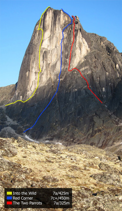 Bilibino 2015: The Commander: Into the Wild (7a / 425m), first ascent Iker & Eneko Pou, 11/07/2015. Red Corner (7c+ / 450m), first ascent Auer, Larcher, Vanhee 11-12.07.2015, team freed 14/07/2105. The Two Parrots (7a / 320m), first ascent Iker & Eneko Pou, 24/07/2015