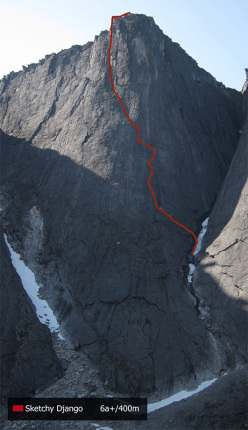 Bilibino 2015: The Monk: Sketchy Django (6a +/ 400m) first ascent Hansjörg Auer, Jacopo Larcher, Siebe Vanhee 18/07/2015 & 20/07/2015. First ascent of the face.