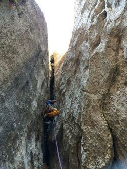Recep Ince making the first ascent of Deep Blue