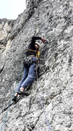 Weg der Neugier (IX-, 500m, Hannes Pfeifhofer, Lisi Steurer, Markus Tschurtschenthaler estate 2015), Cima Una, Valle Fiscalina, Dolomiti