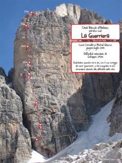 La Guerriera (7b, 290m, Luca Cornella, Michel Ghezzi summer 2015) Cima Bassa d'Ambiez, Brenta Dolomites