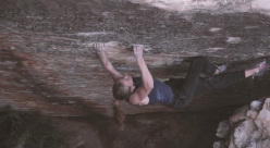 American rock climber Isabelle Faus climbing Amandla, 8B+ at Rocklands, South Africa