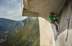 Jorg Verhoeven battling with The Great Roof during his attempt to free climb The Nose, El Capitan, Yosemite