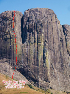 Fire in the Belly (8a+, 700m) Tsaranoro Atsimo, Madagascar. Siebe Vanhee & Sean Villanueva 08/2015. The pitches: 5c, 6c, 7b+, 6b+, 6c, 7c, 8a+, 6b, 7a, 8a++, 7b