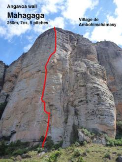 Mahagaga (7c+, 250m), Angavoa Wall, Madagascar. Rakotomalala Herynony Samuel, Sean Villanueva 08/2015. The pitches 7a, 6a+, 7c+, 6b, 6c