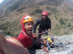 Sean Villanueva and Rakotomalala Herynony Samuel, called Hery, during the first ascent of Mahagaga, Angavoa wall, Madagascar