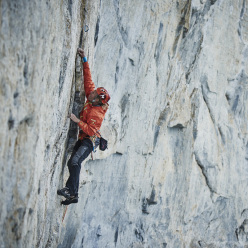 Robert Jasper on pitch 8 of Odyssee, Eiger north face