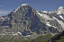 The North Face of the Eiger. Yellow: Odyssee. Blu: Harlin Direttissima. Grey:  Direttissima dei Giapponesi. Red: Piola - Ghilini Direttissima