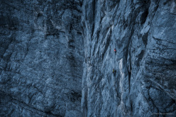Sasha DiGiulian and Carlo Traversi repeating the route Magic Mushroom, North Face of the Eiger