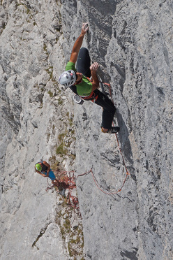 Rolando Larcher climbing pitch 2