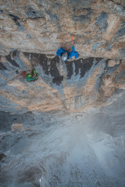 Rolando Larcher climbing the last pitch