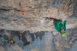 Luca Giupponi climbing the last pitch