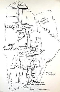 Remake del disegno originale di Un tenebroso Affare pubblicato nella guida della Valle dell'Orco del 1987