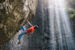 David Lama making the first ascent of Avaatara 9a, Baatara Gorge, Lebanon