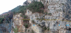 The first section of the Via ferrata della Memoria, the new via ferrata del Vajont