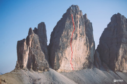 Much Mayr and Guido Unterwurzacher making the first free ascent of Via degli Spagnoli, Cima Grande di Lavaredo, Dolomites
