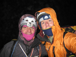 Urban Azman and Boris Lorencic on the summit of Fitz Roy at 3.00am after having climbed Via del Tehuelche, 1300m, 6b+/A2.