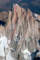 Via del Tehuelche, Fitz Roy, Patagonia. First ascent: Carlo Barbolini, Massimo Bonsi, Mauro Petronio, Angelo Pozzi, Mauro Rontini, Marco Sterni, 1986. 1300m, 6b+/A2.