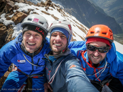Stephan Siegrist, Thomas Senf and Dres Abegglen on the summit of Bhala (Spear) 5900m on 13/09/2015.