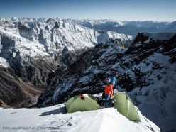 Stephan Siegrist and Andreas Abegglen on the ridge bivy, during the first ascent of Te (crystal), first ascended with Thomas Senf on 02/10/2015