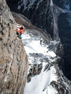 Stephan Siegrist climbing fantastic rock up Te (crystal), first ascended with Thomas Senf and Andreas Abegglen on 02/10/2015