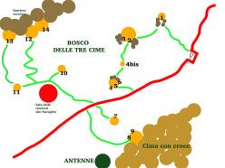 The map of the new boulder problems at Bosco di Luogosanto, Sardinia. N1: Thewave under the shark 7A+. N2: Lo squalo 7B. N3: Altri concetti 8A/+. N4: Spiace dirlo 7A. N4 bis: Un orecchio per Roberta - 5. N5: non liberato. N6: Altre mentalità 7B+. N7: Blasfemia in luogosanto 7A. N8: Bette papassino 7C. N9: Patagarroso 8B. N10: Concasoni 6C. N11: Ragno babbuino 7A. N12: Il pentito di Luogosanto 6B freesolo psicologico un vero e proprio tiro 18m. N13: La bella energia 5C freesolo bellissima arrampicata su tafonate, tiro di 15m. N14: Conca d'oro 6C placca delicatissima che traversa a dx sulla cengetta prima del grande tetto