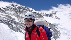 Gerlinde Kaltenbrunner and Lhotse (8516m)
