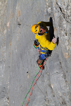 During the first ascent of Voodoo-Zauber, (IX-, 180m, Simon Gietl, Andrea Oberbacher) Sass de la Crusc, Dolomites
