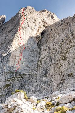 Sulla via Südwind (X, 250m, Alexander Huber, Guido Unterwurzacher), Maukspitze parete sud, Wilder Kaiser, Austria