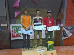 Podio maschile del Campionato Italiano Boulder 2015 Modena: Michael Piccolruaz (2), Danilo Marchionne (1) e Alessandro Palma (3)